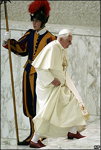 The Pope passes a Swiss Guard in the Vatican, 12 December 2007