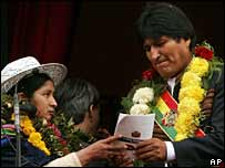 Evo Morales is presented with new draft constitution