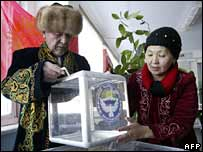 Polling station in Besh-Kungey near Kyrgyz capital Bishkek