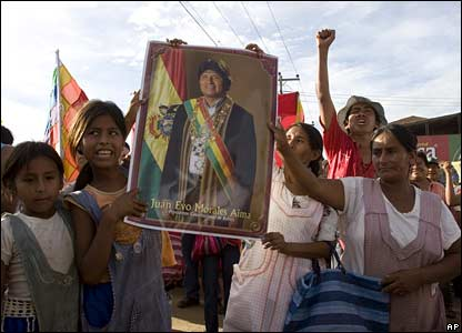 Supporters of President Morales in Montero, 70 km (45 miles) from Santa Cruz