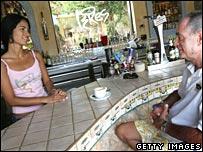 Waitress and customer at a Spanish bar