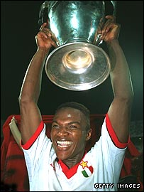 Marcel Desailly celebrates Milan's victory in the 1994 Champions League final