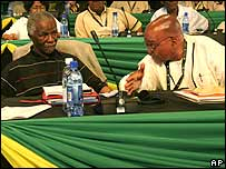 Thabo Mbeki and Jacob Zuma at the opening session of the conference