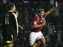 Lee Trundle celebrates after Bristol City's winning goal against Cardiff