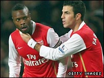 William Gallas (left) converted a corner from Cesc Fabregas