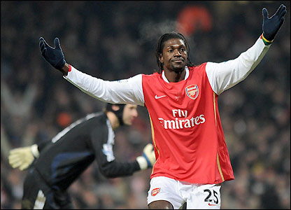 Adebayor reacts to having his goal disallowed
