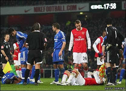 Cole and Fabregas lie prone after their tussle