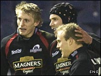 Simon Webster (centre) celebrates his try against Leinster
