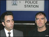 Tommy Sheridan and his lawyer Aamer Anwar outside Gayfield Police Station
