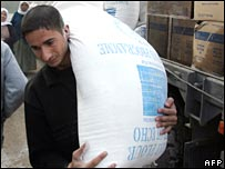 A man carrying a UN food aid in Gaza (file)