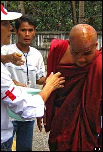 Injured Burmese monk, AFP/Getty