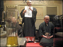 Monks chanting in the bar