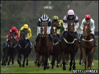 Runners and riders at Plumpton Racecourse