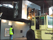 The woodchip generator being installed (picture: Centre for Alternative Technology)