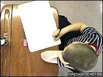 Writing at a desk