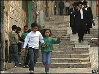 Arab children and Israeli men in East Jerusalem