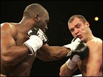 Danny Williams lands a punishing left on Platov's chin.