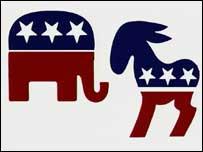 Logos de los partidos Republicano y Demócrata.
