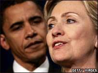 Los precandidatos demócratas Hillary Clinton y Barak Obama