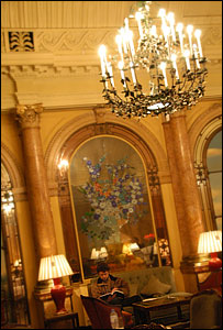 One of the chandeliers in the Thames Foyer