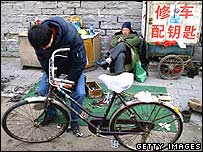 Chinese bicycle repair shop