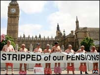 Protest over lost pensions