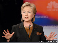 Hillary Clinton takes part in the Democratic debate in Philadelphia, Oct 2007