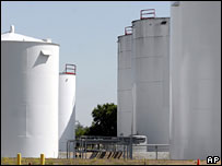 Ethanol storage tanks near Central City, Nebraska