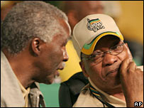 President Thabo Mbeki  (left) and Jacob Zuma during the ANC conference - 17/12/2007