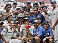 Indian cricket team after their win in the series against Pakistan