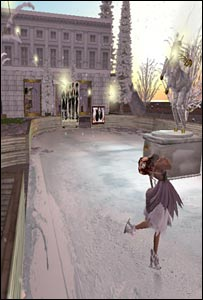 Ice skating rink outside Megg's Second Life accessories' shop