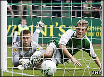 Dean Shiels knocks in the winning goal against Celtic