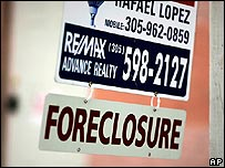 Foreclosure sign outside a home in the US