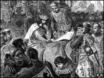A drawing of King John sealing the Magna Carta