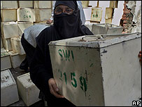Woman with ballot box in Pakistan