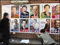 Activists sticking candidate posters on a wall in Seoul, 30/11