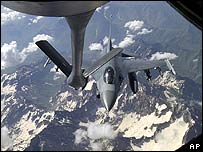 A US jet refuels in mid-air over northern Iraq in this file picture from June 2001