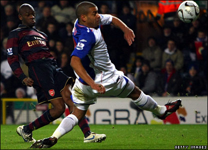 Abou Diaby gets the opener for Arsenal against Blackburn at Ewood Park