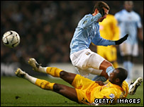 Tottenham's Didier Zokora was sent off for this challenge on Elano