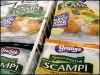 Packets of frozen scampi