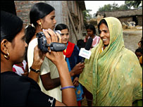 Reporters on women's TV programme in Bihar