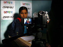 Reporters on women's TV channel in Bihar