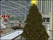 A recreation of NBC's Christmas tree in the Rockefeller Centre in Second Life