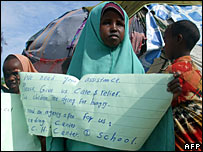 Somali child in displaced persons camp near Mogadishu