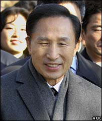 Lee Myung-bak smiles during a visit to Dosan park in Seoul (19/12/2007)
