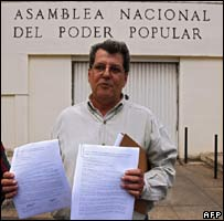 Oswaldo Paya with his petitions outside the National Assembly