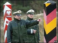 German border officers patrol at the German-Polish border