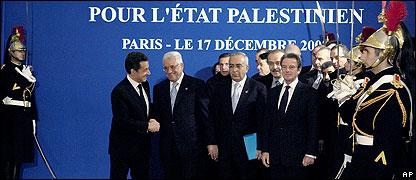 President Sarkozy greets Mahmoud Abbas and Salam Fayyad