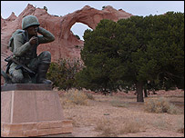 Statue of a Navajo Code Talker on the Navajo reservation
