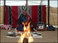 Albert Laughter in his tepee at the Prescott Veterans' Affairs hospital